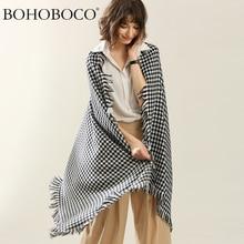 BOHOBOCO tartan wool women scarf classic fashion styles warm lady infinity thick travel blanket 2018 hot sale 90*210cm