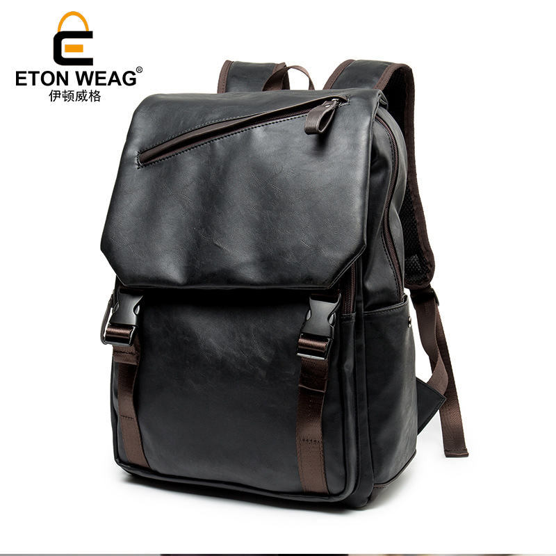 ETONWEAG Brands Cow Leather Backpacks For Teenagers Black Zipper Vintage Men School Bags Preppy Style Laptop Bag Travel Backpack etonweag brands cow leather backpacks for teenage girls vintage brown school bags for teenagers preppy travel small backpack
