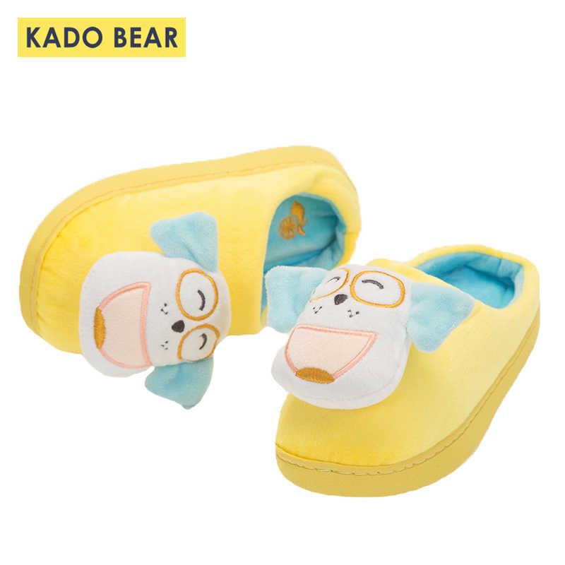 Детские осенние домашние тапочки из хлопка, детские меховые плюшевые милые домашние тапочки для маленьких мальчиков и девочек, нескользящая теплая зимняя обувь