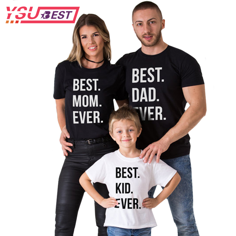 купить Family Look Summer Family Matching Clothes Cotton Father Son Clothes Short Sleeve Family Matching Shirts BEST DAD MOM KID EVER по цене 366.51 рублей