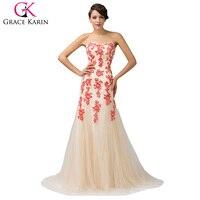 Grace karin sexy blau rot elegante lange meerjungfrau abendkleider 2017 frauen spitze formale kleider china dinner-party kleid 6171