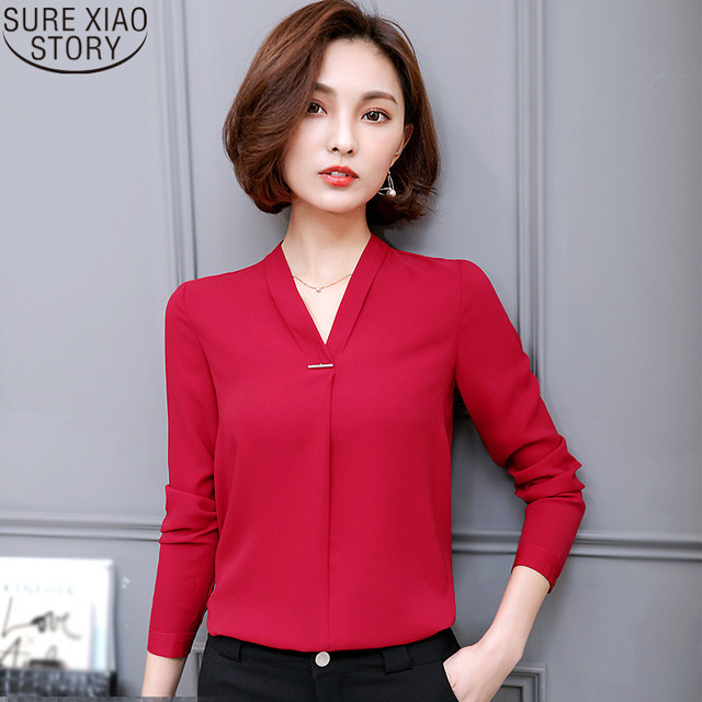 7461bf6e4eaba0 2017 spring Office Lady s Wear Tops new Korean style women s V-neck shirt  long sleeves red color chiffon blouse 862F 30