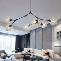 Magic LED Modern Pendant Light Glass Hanging Lights Stylish Sphere Ball Industrial LOFT Iron Droplight Black Gold Lamp fixture
