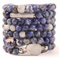 Lapis Lazuli Stone Beads Stretch Strand Stacking Bracelet B15110619