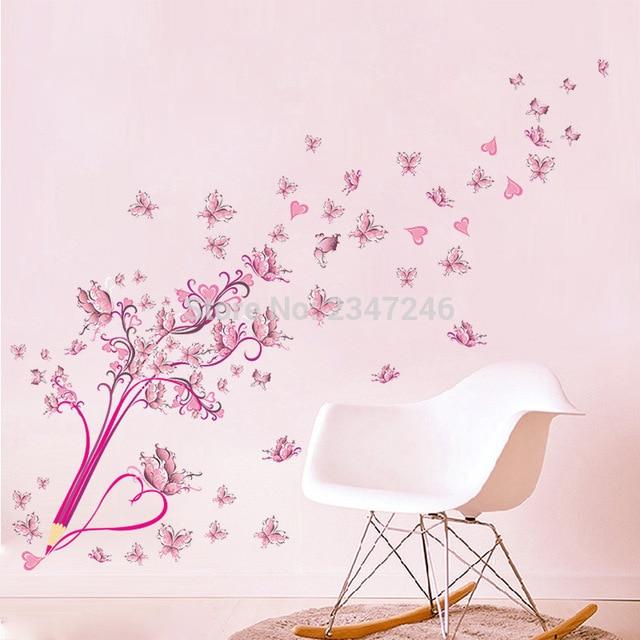 Cuore Rosa Farfalle Wall Stickers Soggiorno Sfondo Ragazze Camera Da