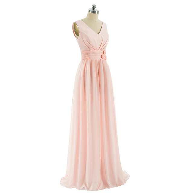 placeholder Beauty-Emily Long Chiffon Blush Pink Bridesmaid Dresses 2018  Vestido De Festa De Casamen Formal fb792bdfdf8a