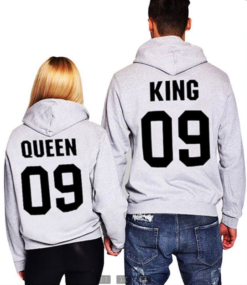 zogaa Plus Size S-4XL New Fashion The King&His Queen Men Women Casual Lover Couple Cotton Sweatshirts Hoodies for Autumn Winter