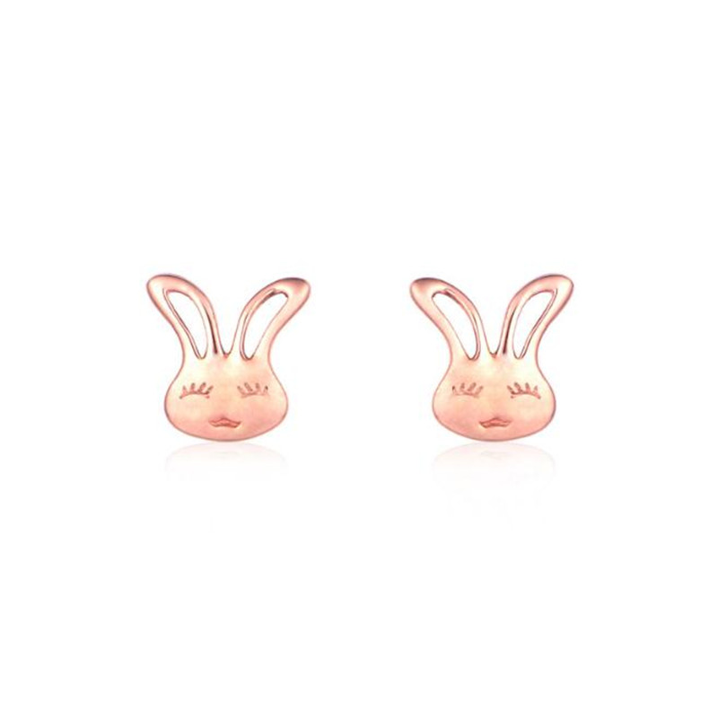 18K Gold Small Bunny Stud Earrings Rabbit Gold Stud Earrings For Women Fashion Animal Jewelry boucle d'oreille pendientes 0.40g pair of stylish rhinestone triangle stud earrings for women