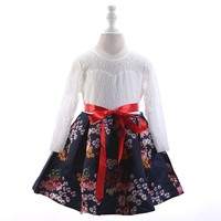 Baby Lace Flowers Girls Dress Spring Clothing Kids Party Wedding Tutu Kids Long Sleeve Clothes 1AA610DS110R