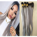 Two Tone 1b Grey Virgin Hair Weave Lace Closure With Bundles Straight Human Hair Extensions Ombre Silver Gray Hair With Closure