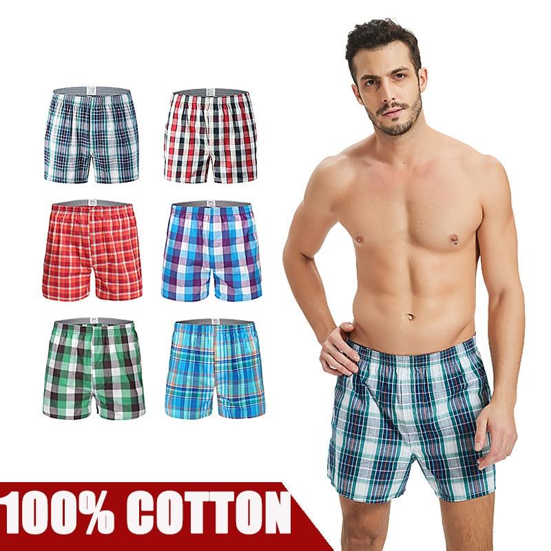 3 Pieces/lot  Mens Underwear Boxers Shorts Casual Cotton Sleep Underpants Brands Plaid Comfortable Homewear Panties Plus Size