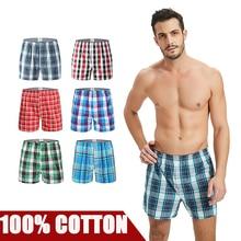 3 Teile/los Herren Unterwäsche Boxer Shorts Casual Baumwolle Schlaf Unterhose Marken Plaid Komfortable Homewear Höschen plus größe
