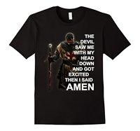 رأى الشيطان بي مع رأسي أسفل و حصلت متحمس قميص الأزياء القمصان يتأهل س الرقبة الأعلى المحملة طباعة تي شيرت الرجل القصير