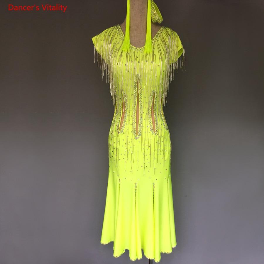 Child Latin Dance Dress Luxury Diamond Ruffles Dance Performance Clothes Women Girls Ballroom Dance Stage Competition Costumes