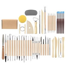 45 Pcs Clay Sculpture Tool Carving Knife Multi-function Set Ceramic Cutting Brushing Supplies