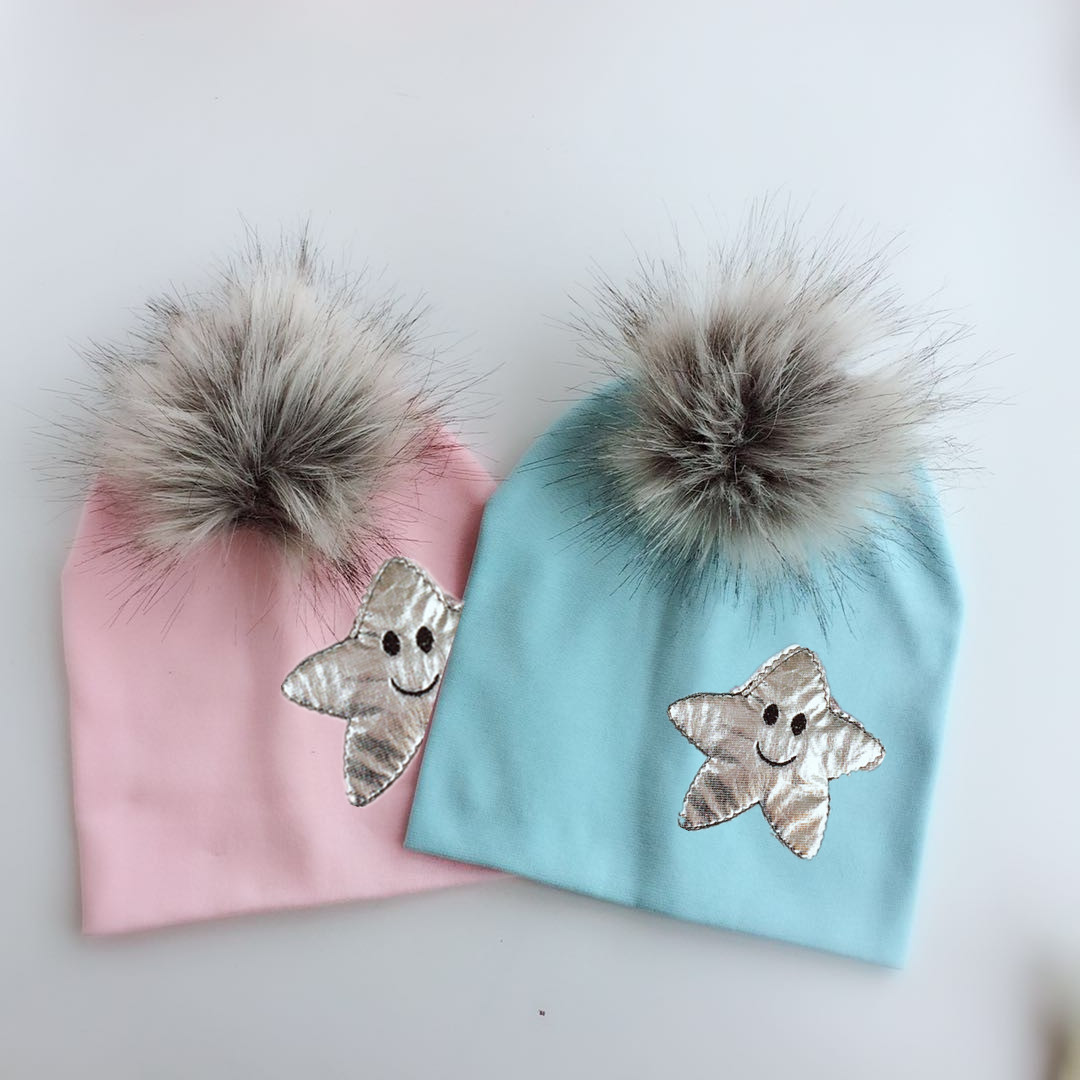 6d4a96a20a8 emoji spring Toddler infant baby silver star cotton raccoon faux fur  cartoon pom pom hat cap skullies for girls and boy kid-in Hats   Caps from  Mother ...