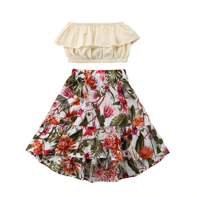 f8cb002e083 2pcs Toddler Infant Baby Girls Clothes Off Shoulder Ruffle Bob Tube Top  Floral Maxi Skirt Kids Summer Clothes Baby Girl 1-7T