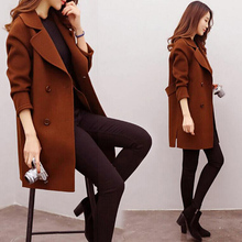 Women Wool Blend Warm Long Coat Plus Size Female Slim Fit La
