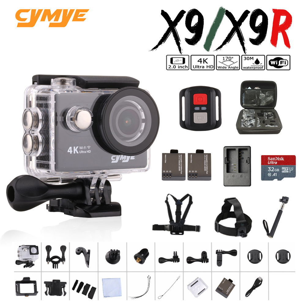 Clear Stock !!! Cymye action camera X9 / X9R Ultra HD 4K WiFi 1080P 60fps 2.0 LCD 170D Sports Camera-in Sports & Action Video Camera from Consumer Electronics