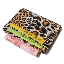 KANDRA 2018 New Thin PU Leather Leopard Print Card Holders Business Fashion Women Slim Wallet Wedding Gift Credit Holder