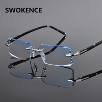Men S High Grade Rimless Diamond Cutting Gradient Finished Myopia Glasses Fashion Alloy Temple Short Sighted