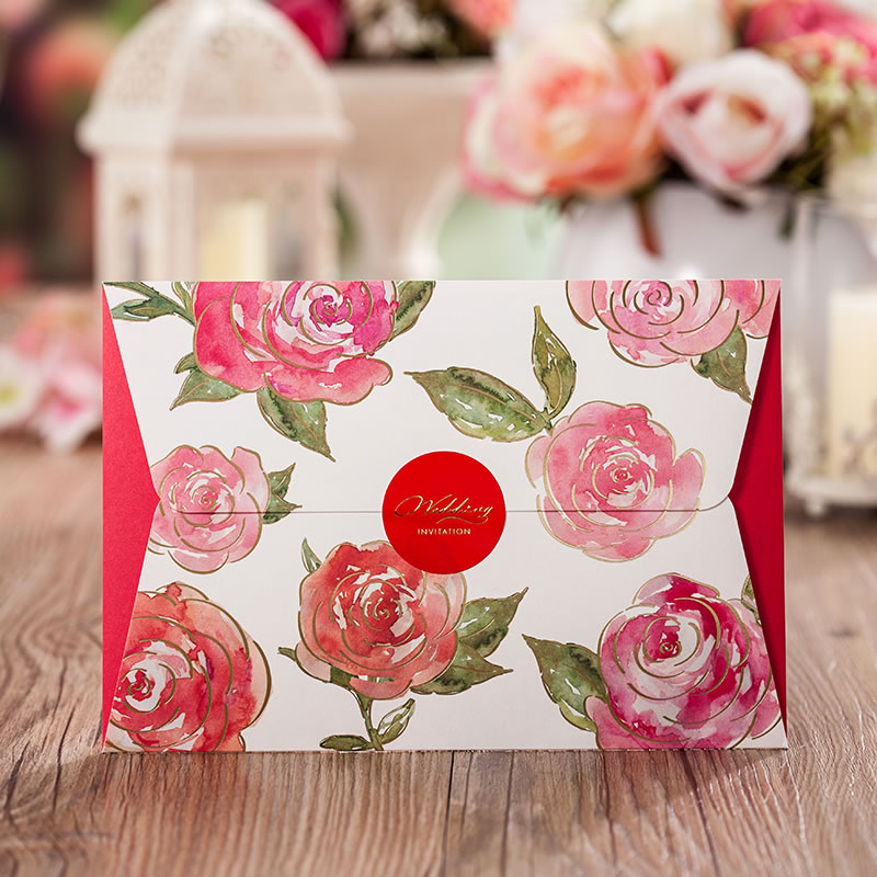 Asian Themed Red Color Rose flower Wedding Invitation Card Laser Cut ...