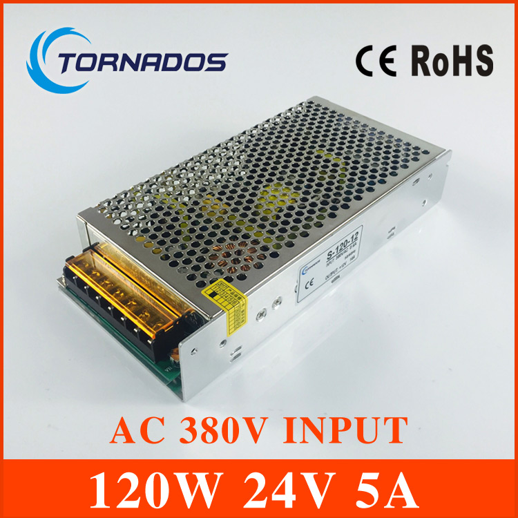 AC 380V input 24V 5A output 120W switching power supply of high reliability industrial switch power supply AC-DC  Converter switching power supply 5v ccfl inverter instead of cxa m10a l 5 7 inch industrial screen high pressure lm 05100 drive