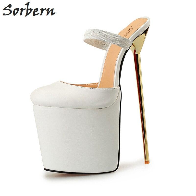 Sorbern/унисекс, размеры 40 50, шлепанцы с острым носком, на толстой платформе, на высоком металлическом каблуке, сандалии шлепанцы, Золотые каблу