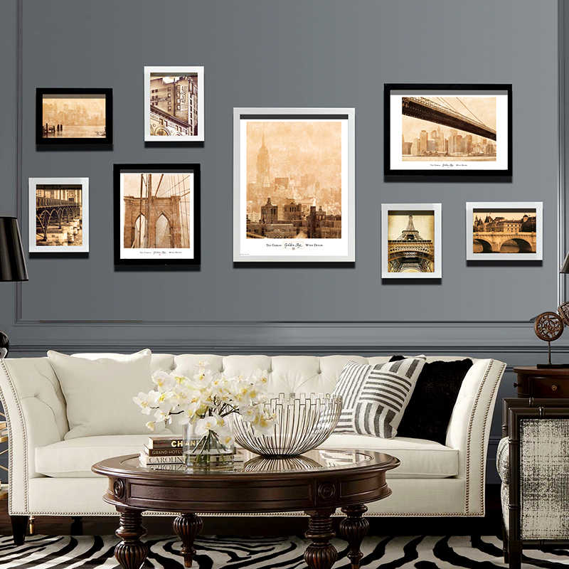 New 8 pcs/set Modern Wall Hanging Picture Frames Wood Wall Frames Suit For Room Space Decorative Wall Frames marcos para fotos