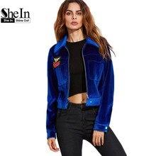 SheIn Womens Fall Jacket Women Basic Coats Winter Womens Jackets European Style Blue Zip Up Embroidered Patch Velvet Jacket