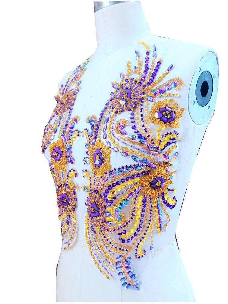 Pur fait à la main violet/doré coudre sur strass applique sur maille cristaux patchs 41*39 cm bricolage accessoire de robe-in Strass from Maison & Animalerie    1