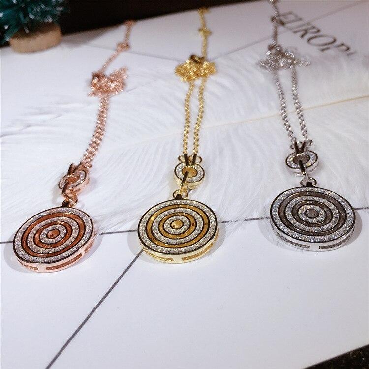 Chance apportant grand plateau pendentif pur 925 en argent Sterling chaîne collier de haute qualité étincelant Zircon décoratif femmes collier