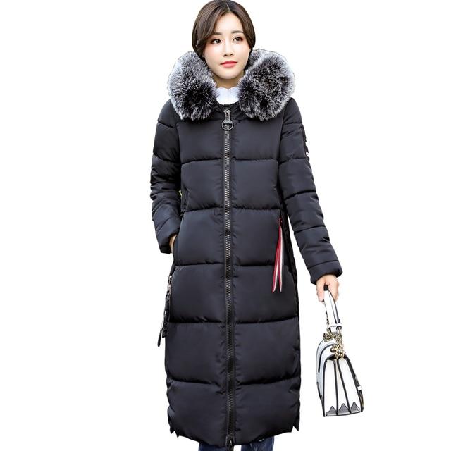 32b1badf45fe7 Women Winter Jacket Plus Size 2018 Pink Womens Jacket Thick Large Fur  Collar Hooded Long Down