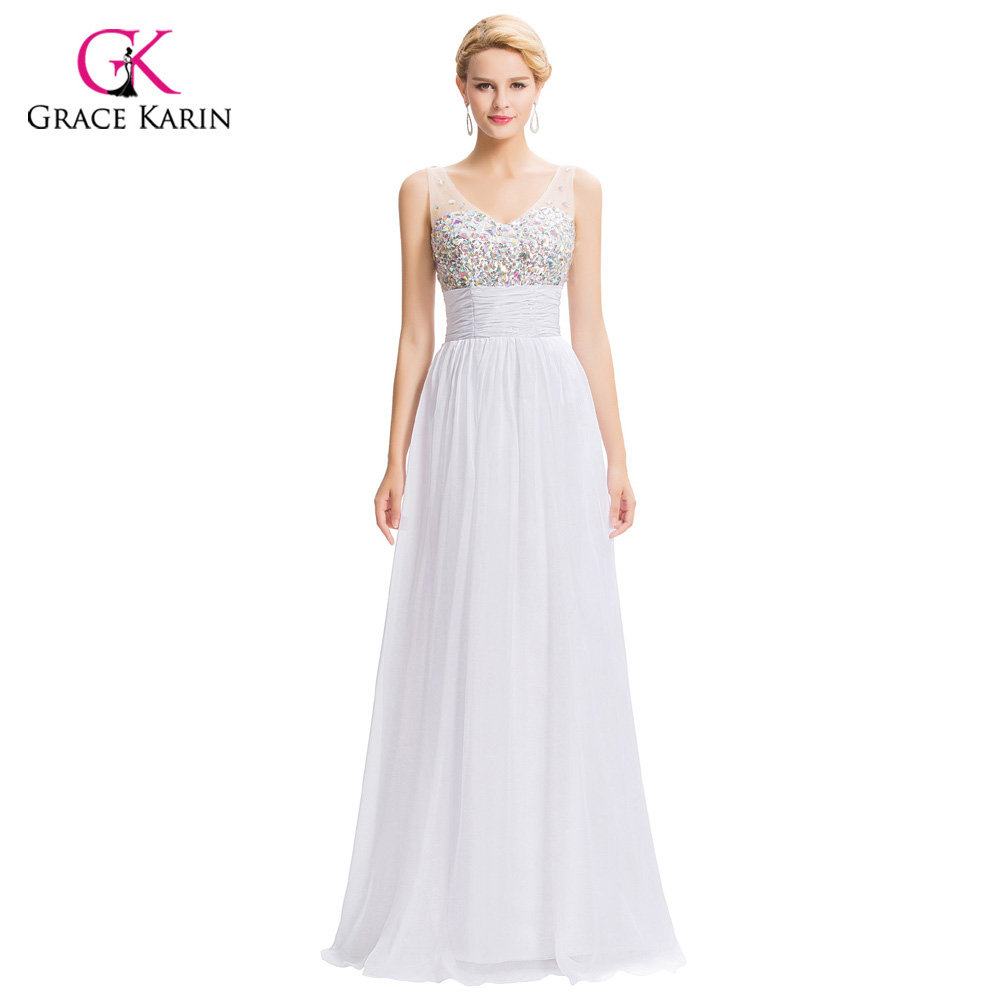 Grace Karin Sexy Backless Evening Dresses 2018 Women long White Formal  Dress Party Gowns Rhinestones Blue Evening Dress 7506-in Evening Dresses  from ... de5028c4c960