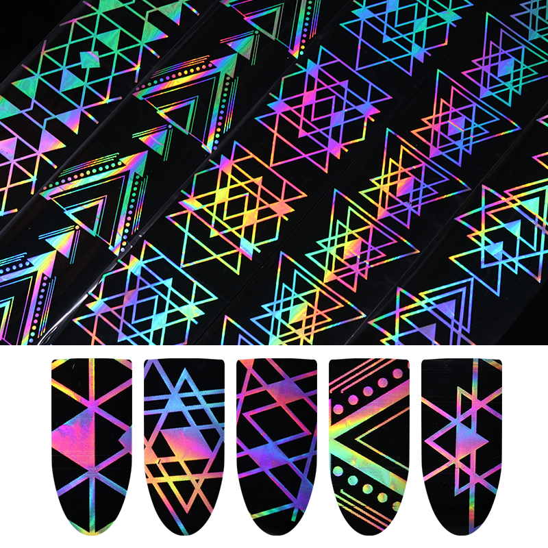 1 Roll Holographic Nail Foil Laser Geometric Triangle Heart Firework Wave Manicure Nail Art Transfer Sticker 4*100cm 9 rolls colorful flower nail foil 4 100cm holographic starry full fingernail manicure nail art transfer sticker