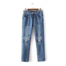 Вышивка мультфильм джинсы lovely cat pattern брюки женские середине талии карандаш брюки мода синий летние джинсы бесплатная доставка