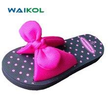Waikol милые летние с бантом бабочкой точка eva Одежда для дома, пляжа женская обувь на плоской подошве тапочки женские сандалии синий и красный цвета желтый и зеленый цвета Размеры размеры S, M, L