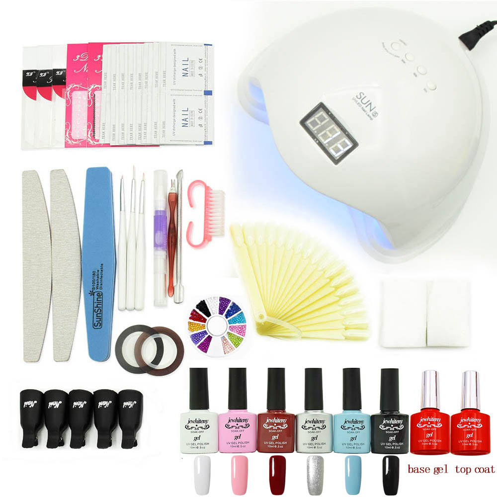 nail art manicure tools Gel Lamp Nai sets kits 6 colorl soak off UV gel nail polish varnishes set with 48W UV LED Lamp 36w uv pro nail art uv gel kits sets tools 36w uv nail lamp manicure set soak off gel polish top