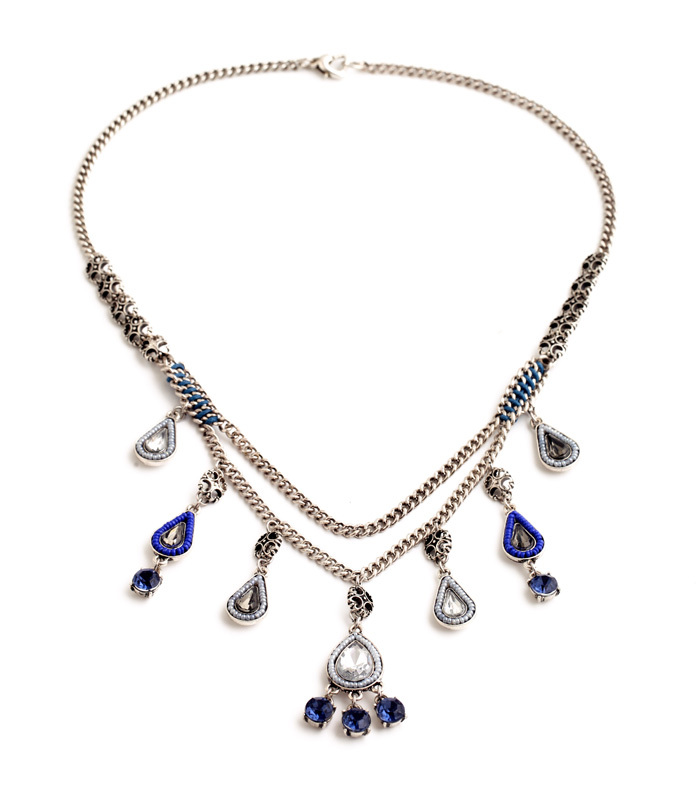 Silver Color Jewelry Female Double Chain Water Drop Pendants Resin Noble Collars Noble Blue Necklace