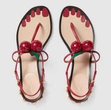 Sweet Women Sandals Multicolor Fashion Genuine Leather Casual Shoes Red Crystal cherry Leaf Ankle Strap Square Heel Metal Bead