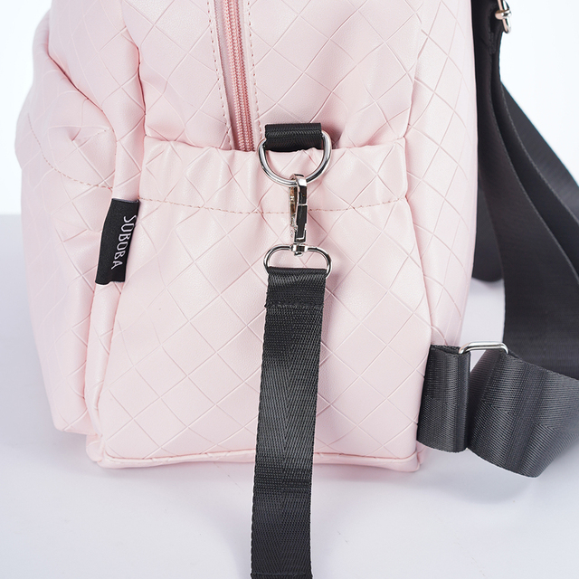 Diaper Bag for Mothers Plaid PU Waterproof Multifunctional Nurse Changing Bag Stroller Bag with 2 Straps Fashion Backpacks   Happy Baby Mama