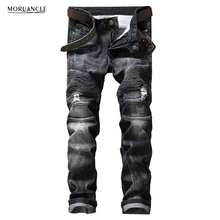 Brand Designer Mens Ripped Biker Jeans Fashion Distressed Moto Denim Joggers For Man Black Pleated Jean Trousers Strentch Pants