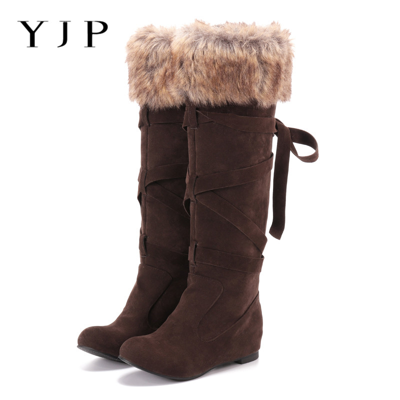 YJP Mid-calf Women Snow Boots, Furry Brim Cross-tied Faux Suede Middle Length Boots, Women's Shoes Winter Warm Leg Booties Botas double criss cross bandages faux suede skirt