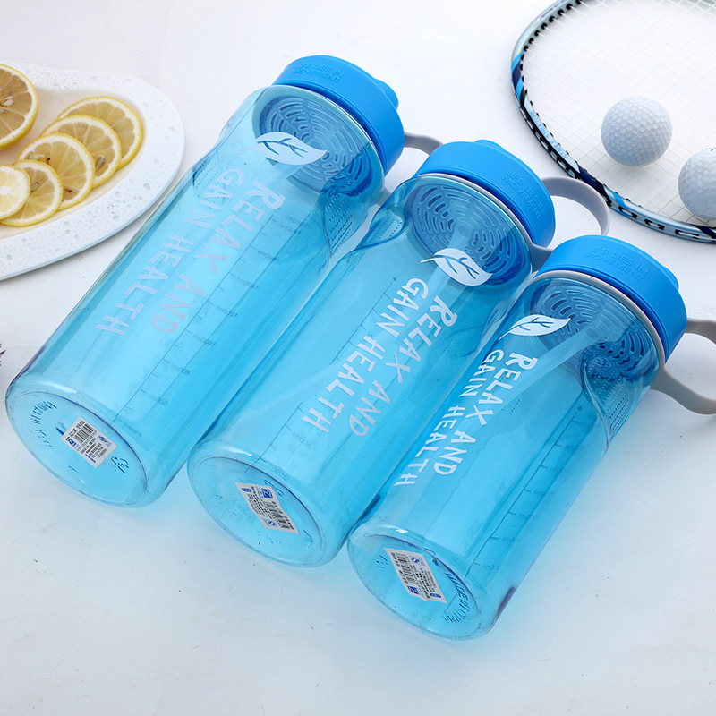 1000/1500/2000ML Large Capacity Straw Sports Water Bottles With Handle BPA Free Healthy Plastic Outdoor Travel Bottle(China)