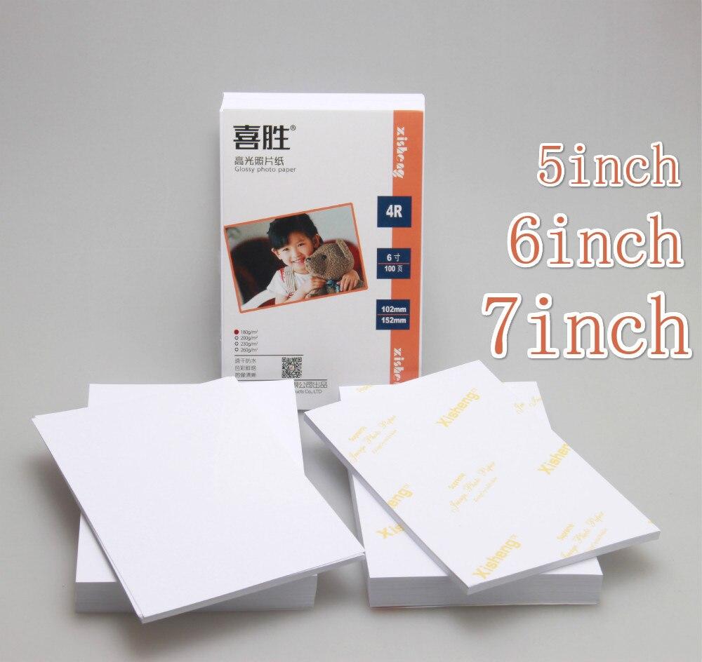 100 stücke 5/6/7 Zoll Fotografische Papier Glänzend Druck Papier Drucker Foto Papier Farbe Druck Beschichtet Für hause Druck
