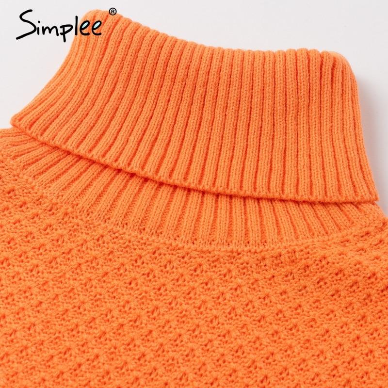 Simplee Orange turtleneck knitted women pullover sweater Vintage ladies wide long sleeve autumn winter sweater Casual jumper 6