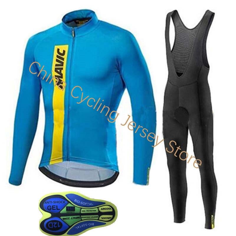 2019 NOVA pro Team Mavic Ciclismo Jersey bib calças conjunto Outono manga Longa Roupas Bicicleta MTB Mountian Bicicleta Roupa Ropa ciclismo