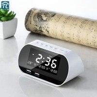 Desktop Alarm Clock Dual USB Charging Snooze Calendar Temperature Wireless FM Radio LCD Display Digital Electronic Decoration
