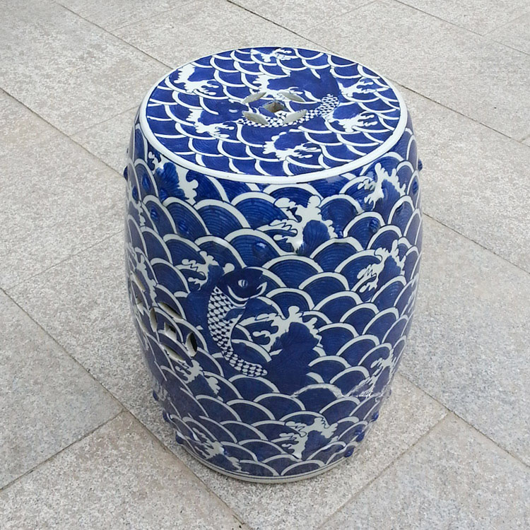 Tabouret de jardin Antique chinois peint à la main en porcelaine bleue et blanche