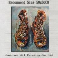 オリジナルハンドペイントブーツ上のキャンバス靴絵画ハングピクチャー静物印象油